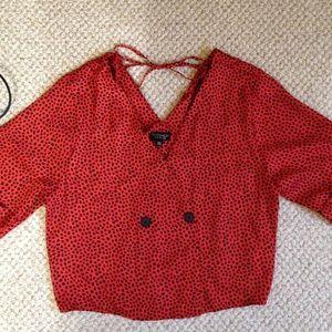 TOPSHOP  Red/Black Wrap Blouse Cheetah Print - NWT